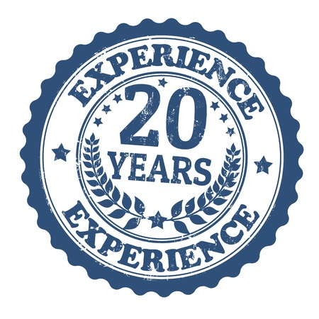 Grunge rubber stamp with the text 20 Years Experience written inside, vector illustration Vector