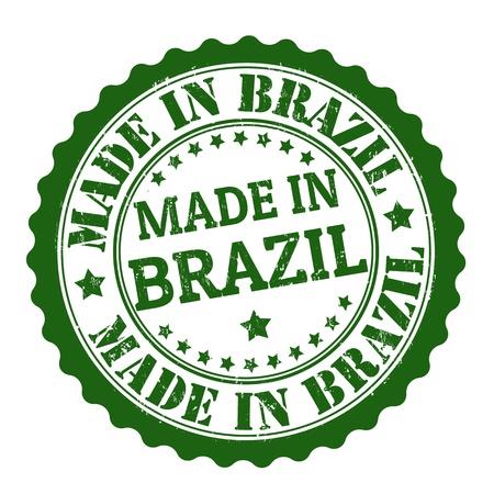 brasil: Made in brazil grunge rubber stamp on white, vector illustration