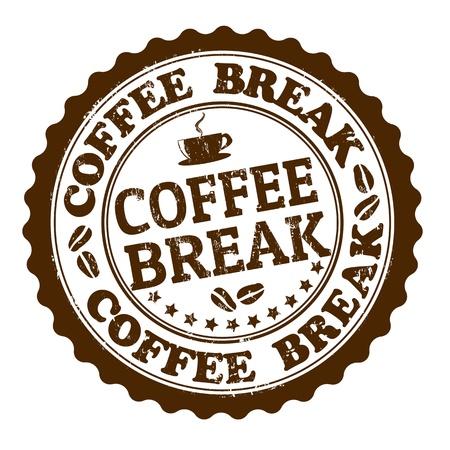 Koffiepauze grunge rubberen stempel op wit, vector illustratie
