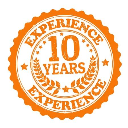 buen servicio: Grunge sello de goma con el texto de 10 a�os de experiencia escrita en el interior, ilustraci�n vectorial