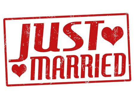 Just married grunge rubber stempel, vector illustratie