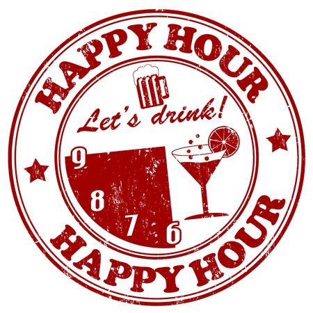happy hour:  Happy Hour grunge rubber stamp on white, vector illustration Illustration