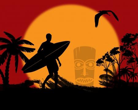 Surfer silhouette on tropical landscape at sunset, vector illustration Vector