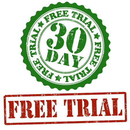 free trial: Free trial grunge rubber stamps on white, vector illustration