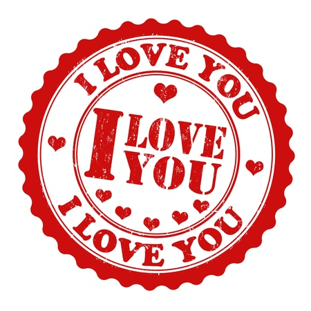 i love you: Red grunge rubber stamp with red heart and the text i love you written inside the stamp