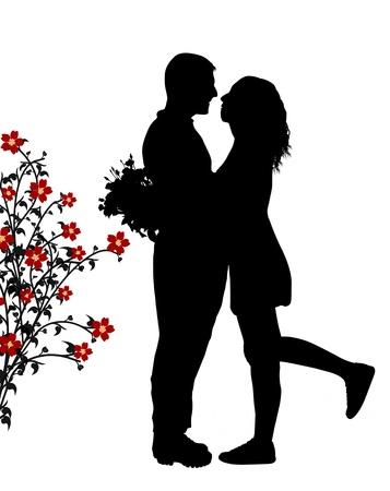 siluetas de enamorados: Romántica pareja abrazo silueta en el amor, ilustración vectorial