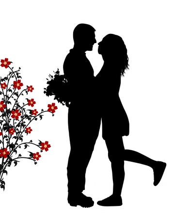silhouettes: Romantic couple silhouette embrace in love, vector illustration Illustration