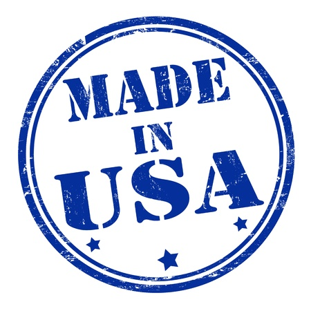flag: Made in USA grunge rubber stamp, vector illustration