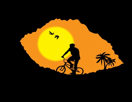 crevice: Mountain bike bicycle rider in wild mountain nature landscape, illustration vector