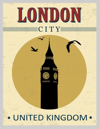Big ben tower from London in vitage style poster, vector illustration Stock Vector - 21424802