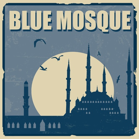 istanbul night: Blue Mosque vintage grunge poster, vector illustration