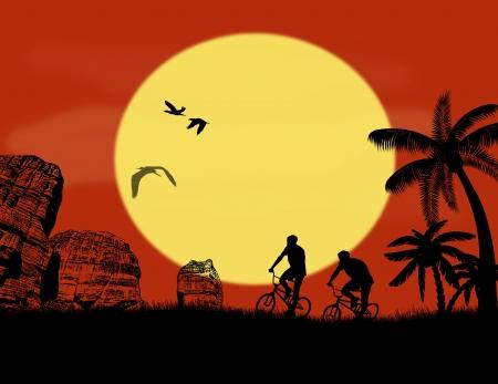 mountain biker: Mountain bike bicycle riders in wild mountain at sunset, vector illustration