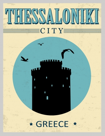 White Tower from Thessaloniki in vitage style poster, vector illustration Stock Vector - 21635545