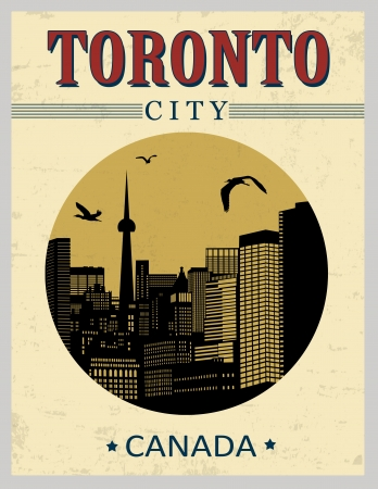Toronto buildings from Canada in vitage style poster, vector illustration Stock Vector - 21635546