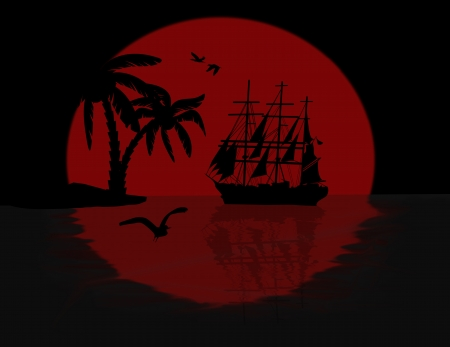 doomed: Boat floating on the ocean in front of a very big red full moon by night