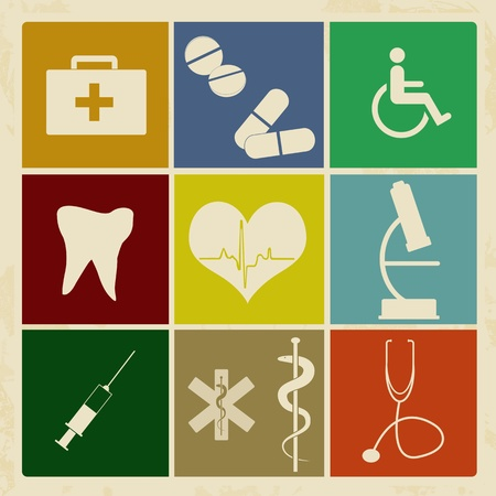 Set of vintage medical icons on retro poster background, vector illustration Vector