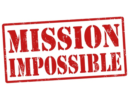 Mission impossible grunge rubberen stempel, vector illustratie