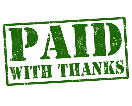 Paid with thanks green rubber stamp over a white background, vector illustration