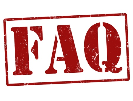 frequently: FAQ  Frequently Asked Questions  rubber stamp over a white background, vector illustration