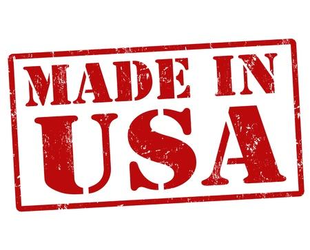 Gemaakt in de VS grunge ruber stempel op een witte achtergrond, vector illustratie