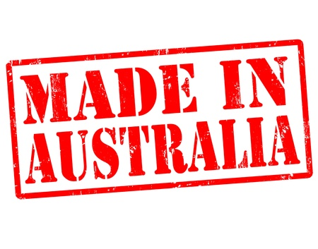 australia stamp: Made in Australia grunge rubber stamp over a white background, vector illustration
