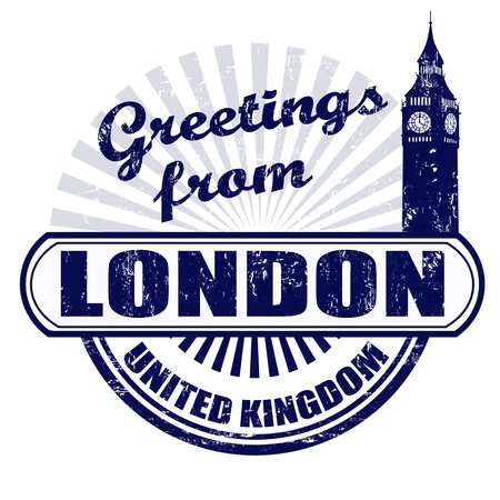 bigben: Grunge rubber stamp with text Greetings from London, vector illustration