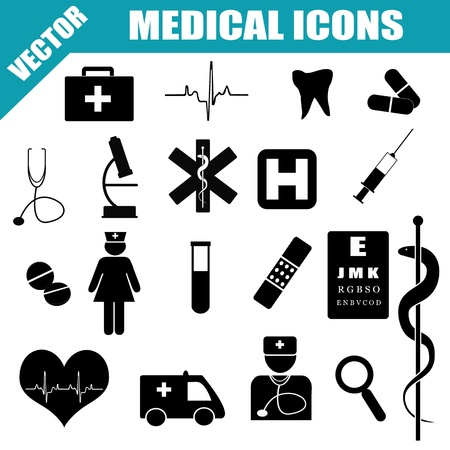 Medical Icons Set on white background, vector illustration Stock Vector - 21635568
