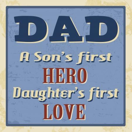 the first love: Pap� - primer h�roe un hijo s, primer cartel amor hija s Vectores