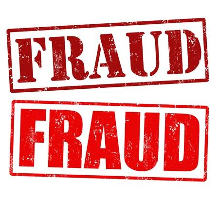 dinero falso: Fraude sellos de caucho grunge sobre un fondo blanco, ilustraci�n vectorial