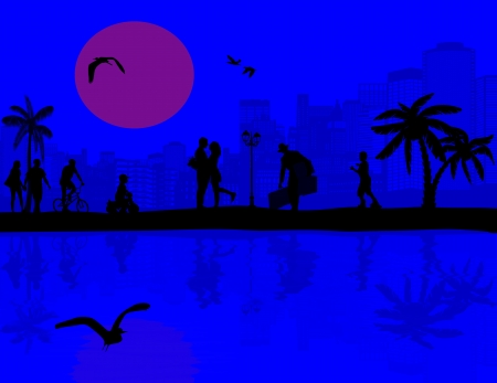old times: Vector design background with beautiful landscape and people silhouette with reflection on water
