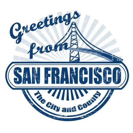グランジ テキスト挨拶 fromSan Francisco、ベクター画像とスタンプ