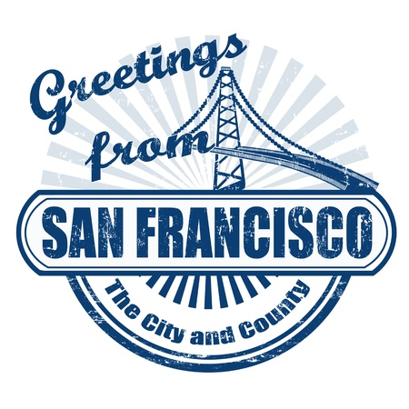 golden gate bridge: Grunge rubber stamp with text Greetings fromSan Francisco, vector illustration Illustration