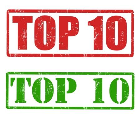 numero diez: Conjunto de sellos de goma del grunge con las palabras Top 10 en el interior de ilustraci?n vectorial, Vectores