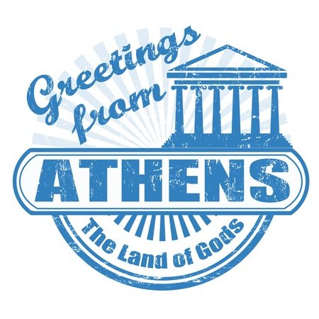 parthenon: Grunge rubber stamp with text Greetings from Athens, vector illustration