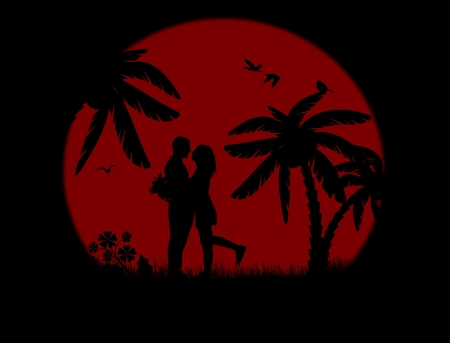true love: Romantic couple silhouette embrace over red sunset, vector illustration