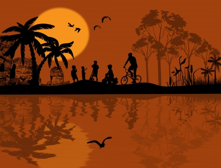 Vector design background with beautiful landscape and children silhouette with reflection on water Vector