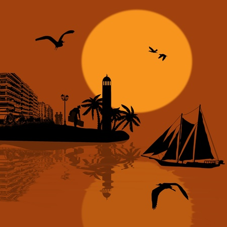mariner: Ancient ship sailing at beautiful sunset, vector illustration Illustration