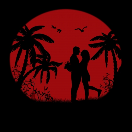 Romantic couple silhouette embrace over red sunset, vector illustration Vector