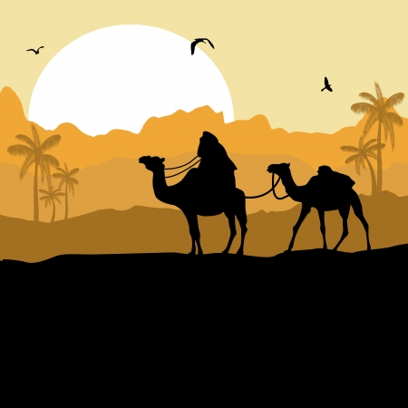 Camel caravan in wild desert mountain nature landscape background illustration vector Vector