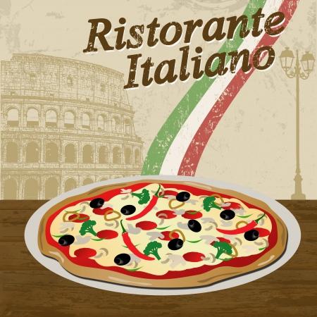 restaurante italiano: Restaurante italiano del cartel del grunge con la pizza y Coliseo, ilustraci�n vectorial Vectores