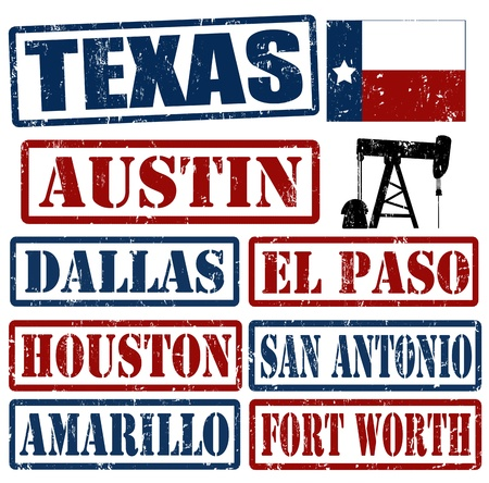 Set of Texas cities stamps on white background, vector illustration Illustration