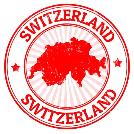 Grunge rubber stamp with the map of Switzerland, vector illustration Çizim