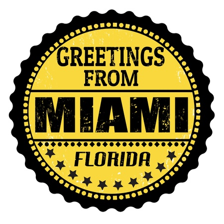 Grunge color stamp with text Greetings from Miami, vector illustration Vector