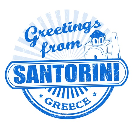 santorini greece: Grunge rubber stamp with text Greetings from Santorini, vector illustration