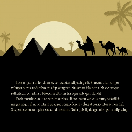 desert sunset: Egyptian pyramids with camels caravan at sunset with space for your text, vector illustration