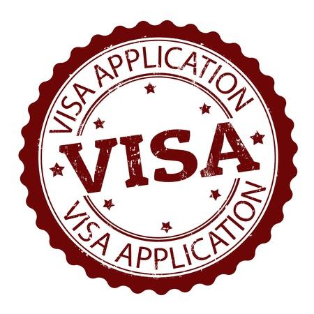 pasaporte: Grunge sello de goma con la aplicación Visa texto, ilustración vectorial