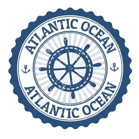 atlantic ocean: Grunge rubber stamp with the text Atlantic Ocean written inside, vector illustration
