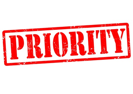 Priority grunge rubber stamp on white, vector illustration Vector