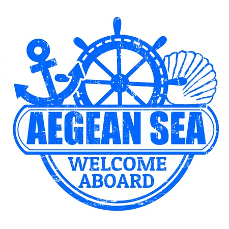 aboard: Grunge rubber stamp with the text Aegean Sea, welcome aboard written inside, vector illustration Illustration