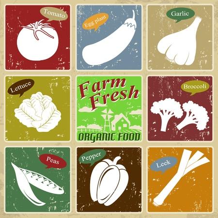 egg plant: Granja poster etiqueta fresca del vintage con tomate, ajo, guisantes, pimiento, cebolla, lechuga, berenjena, br�coli, ilustraci�n vectorial